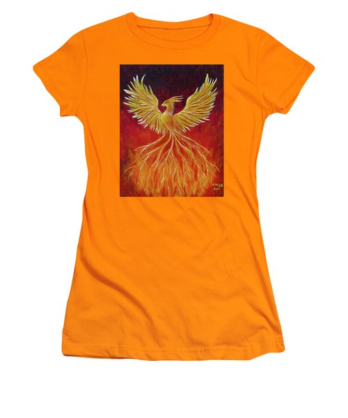 Women's T-Shirt (Athletic Fit) featuring the painting The Phoenix by Teresa Wing