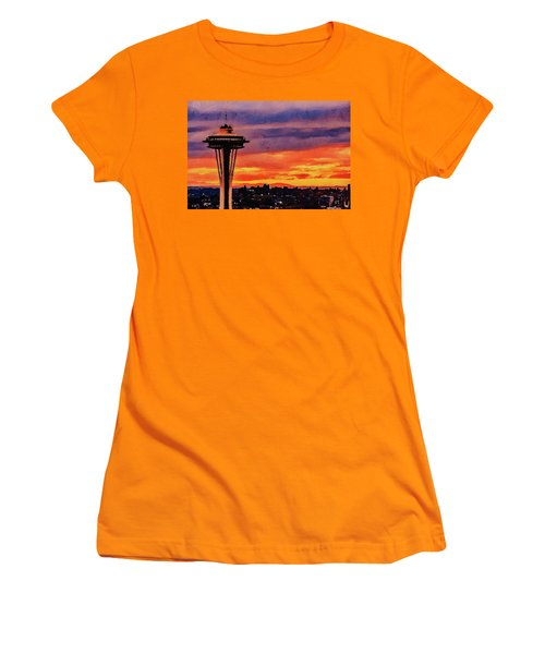 Women's T-Shirt (Athletic Fit) featuring the digital art The Space Needle by PixBreak Art