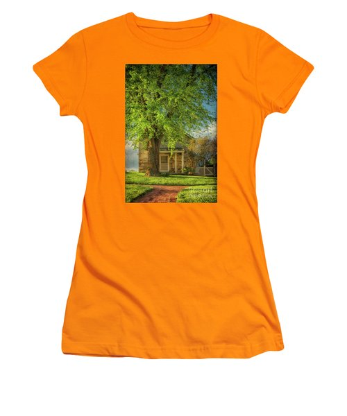 Women's T-Shirt (Athletic Fit) featuring the photograph The Stone Cottage On A Spring Evening by Lois Bryan