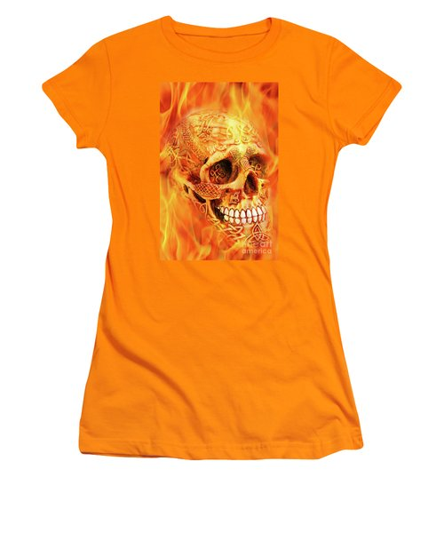 Flaming Skull Women's T-Shirt (Athletic Fit)