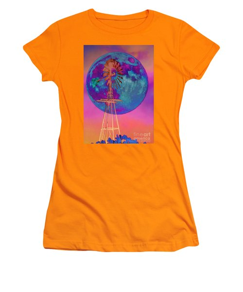 The Windmill And Moon In A Sherbet Sky Women's T-Shirt (Junior Cut) by Toma Caul