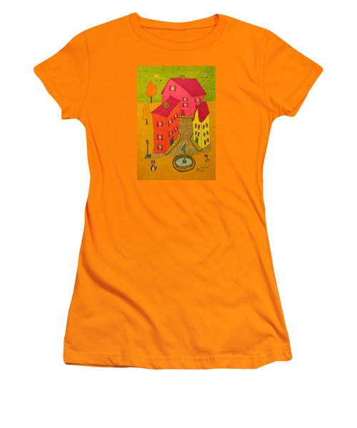 Three Homes With Sculpture Fountain Women's T-Shirt (Athletic Fit)