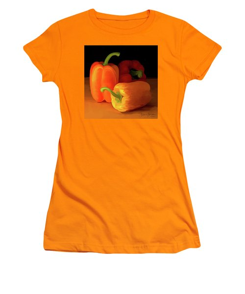 Three Peppers 01 Women's T-Shirt (Junior Cut) by Wally Hampton