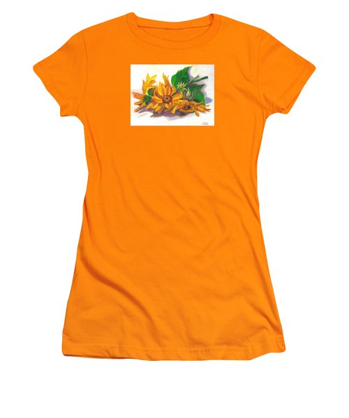 Women's T-Shirt (Junior Cut) featuring the painting Three Sunflowers by Susan Thomas