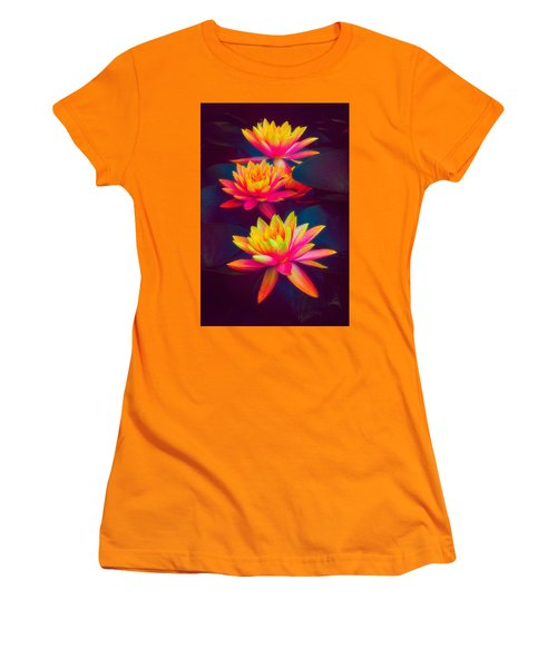 Women's T-Shirt (Athletic Fit) featuring the photograph Three Waterlilies by Chris Lord
