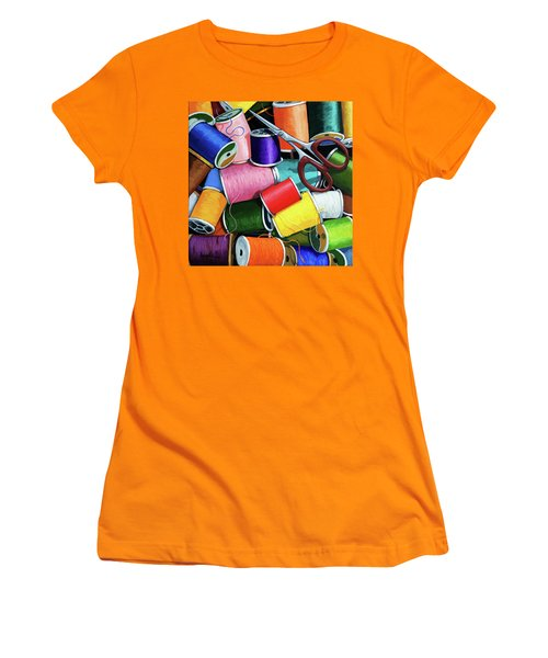 Women's T-Shirt (Junior Cut) featuring the painting Time To Sew - Colorful Threads by Linda Apple