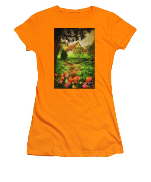 Women's T-Shirt (Athletic Fit) featuring the digital art To The Tulips by Lois Bryan