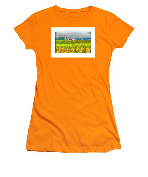 Women's T-Shirt (Junior Cut) featuring the photograph Tobacco Farm by R Thomas Berner
