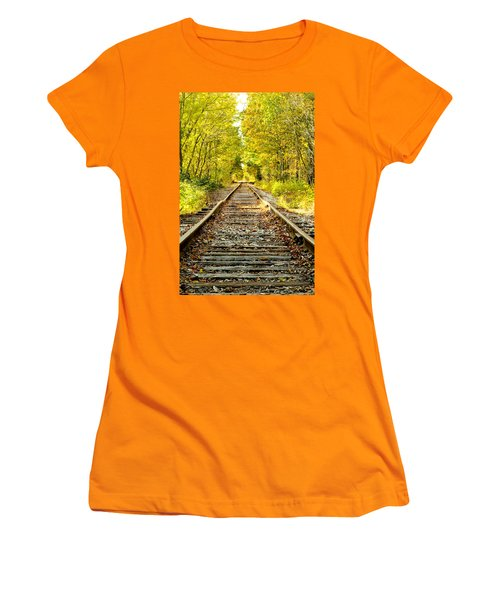 Track To Nowhere Women's T-Shirt (Junior Cut) by Greg Fortier