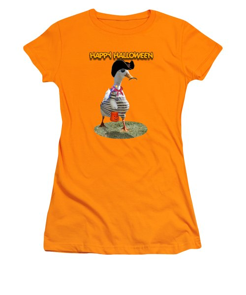 Trick Or Treat For Cap'n Duck Women's T-Shirt (Junior Cut) by Gravityx9 Designs
