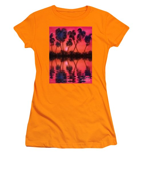Women's T-Shirt (Junior Cut) featuring the painting Tropical Heat Wave by Holly Martinson