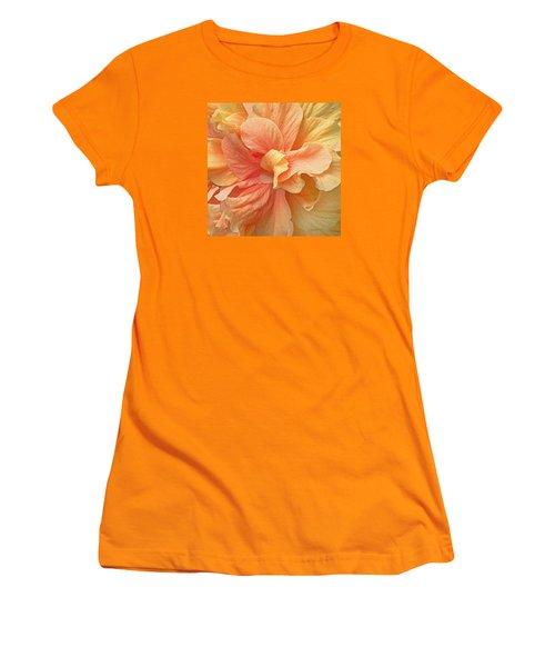 Tropical Peach Hibiscus Flower Women's T-Shirt (Junior Cut) by Deborah Smith