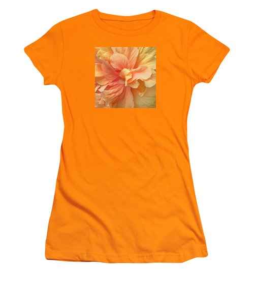 Tropical Peach Hibiscus Flower Women's T-Shirt (Athletic Fit)