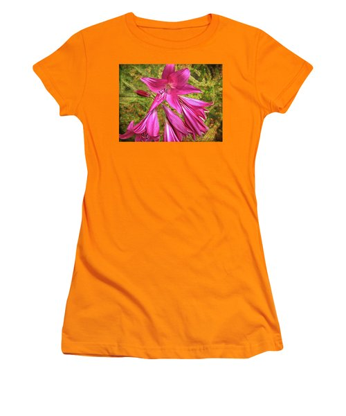 Women's T-Shirt (Athletic Fit) featuring the photograph Trumpet Flowers by Lewis Mann