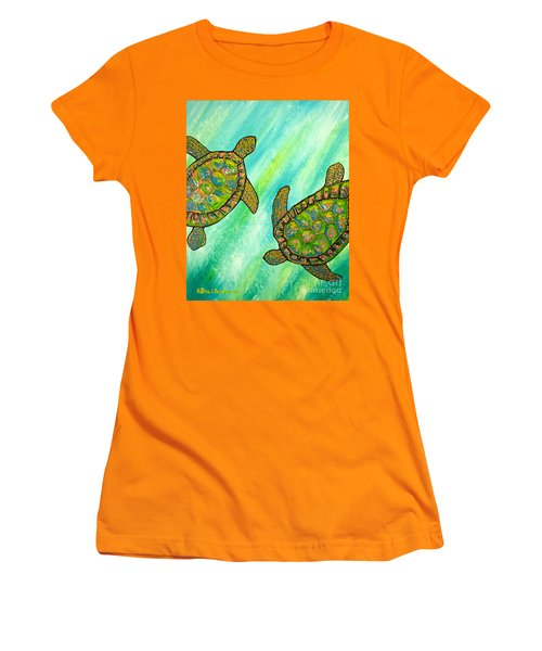 Women's T-Shirt (Junior Cut) featuring the painting Turtle Sea Dance by Patricia L Davidson