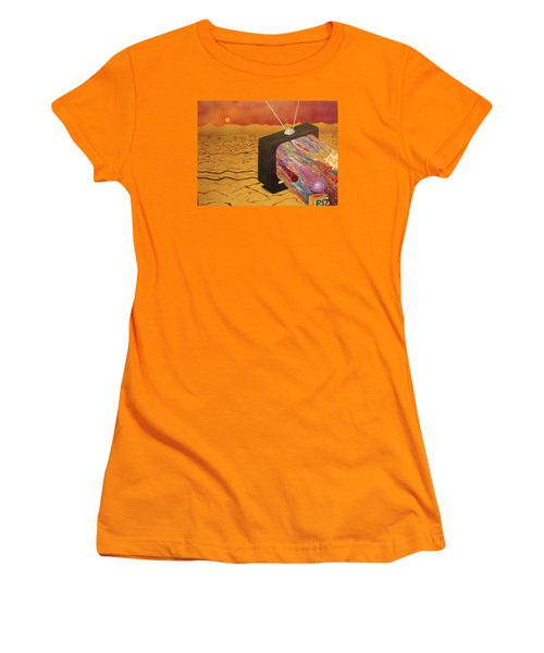 Women's T-Shirt (Junior Cut) featuring the painting Tv Wasteland by Thomas Blood