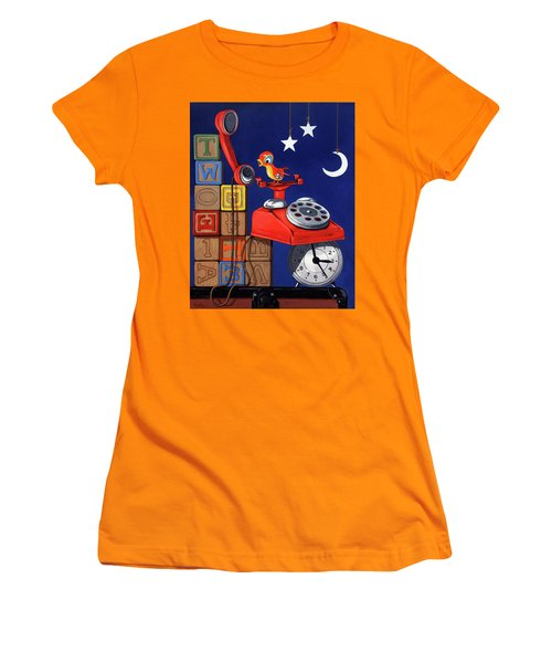 Women's T-Shirt (Junior Cut) featuring the painting Tweets -narrative Painting by Linda Apple