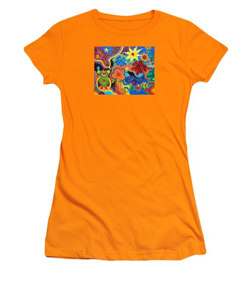 Women's T-Shirt (Junior Cut) featuring the painting Bluebird Of Happiness by Marina Petro
