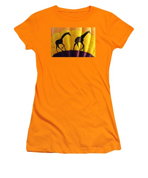 Two Giraffes Riding On A Hot Air Balloon Women's T-Shirt (Athletic Fit)