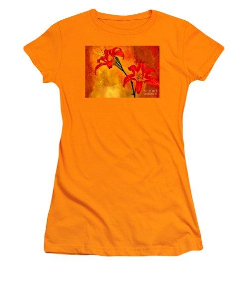 Women's T-Shirt (Junior Cut) featuring the digital art Two Tigerlilies by Marsha Heiken