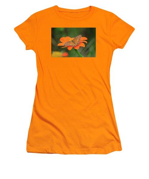 Variegated Fritillary On Flower Women's T-Shirt (Junior Cut) by Ronda Ryan