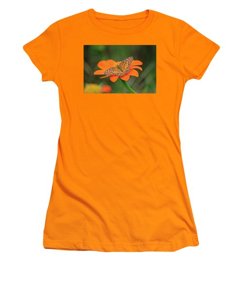 Variegated Fritillary On Flower Women's T-Shirt (Athletic Fit)
