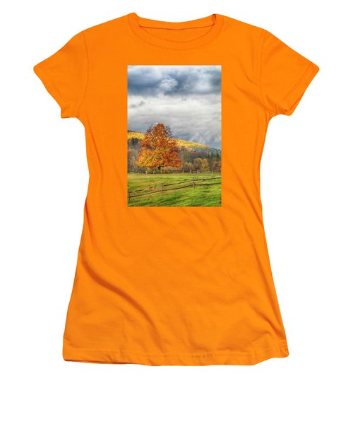 Women's T-Shirt (Athletic Fit) featuring the photograph Vermont Fall Colors After The Rain by Jeff Folger
