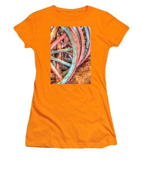 Wagon Wheels Women's T-Shirt (Junior Cut) by Jerry Sodorff