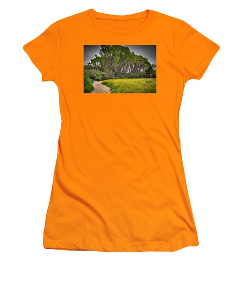 Walking Path In Tall Oak Trees In Spring Women's T-Shirt (Athletic Fit)