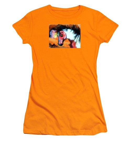 War Paint Horse Women's T-Shirt (Junior Cut) by Ayasha Loya