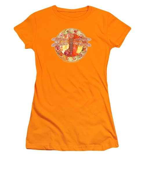 Warm Celtic Dragonfly Women's T-Shirt (Junior Cut) by Kristen Fox
