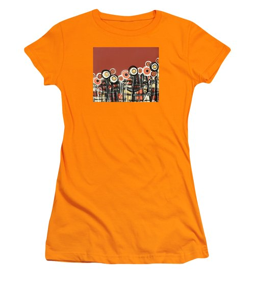 Warm Red Flowers Women's T-Shirt (Athletic Fit)