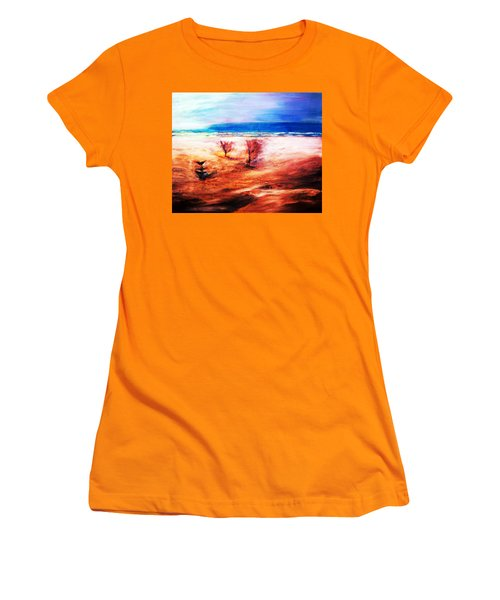 Women's T-Shirt (Junior Cut) featuring the painting Water And Earth by Winsome Gunning