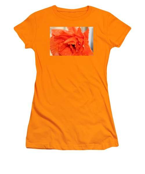 Women's T-Shirt (Junior Cut) featuring the photograph Water On Orange by Christin Brodie
