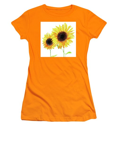 Women's T-Shirt (Athletic Fit) featuring the painting Watercolor Sunflowers by Irina Sztukowski