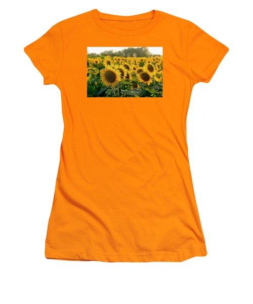Waving Sunflowers In A Field Women's T-Shirt (Junior Cut) by Karen McKenzie McAdoo