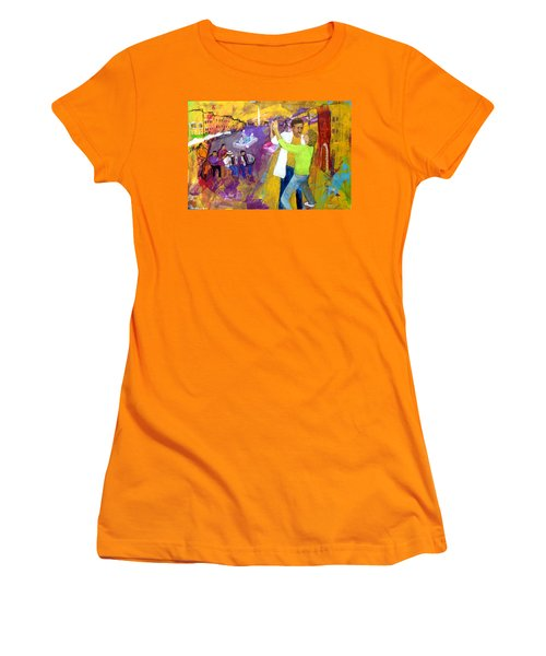 Women's T-Shirt (Junior Cut) featuring the painting We Tangoed On The Piazza Navono by Keith Thue