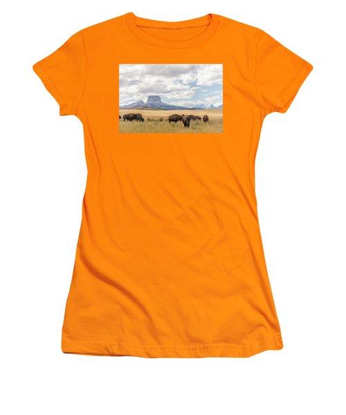 Where The Buffalo Roam Women's T-Shirt (Junior Cut) by Alex Lapidus