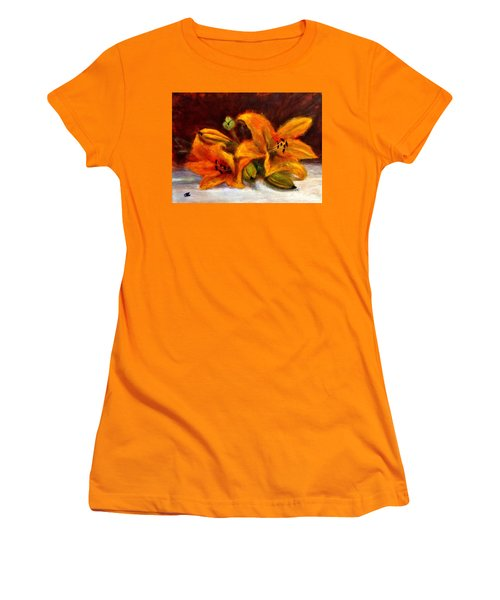 Women's T-Shirt (Junior Cut) featuring the painting Whispers Of Love..2 by Cristina Mihailescu