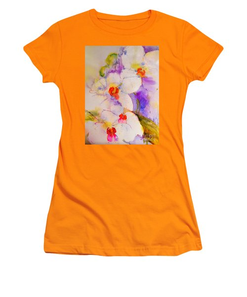 White Orchids Women's T-Shirt (Junior Cut) by Betty M M Wong