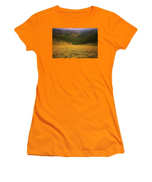 Wildflower Field Up In The Temblor Range At Carrizo Plain National Monument Women's T-Shirt (Athletic Fit)