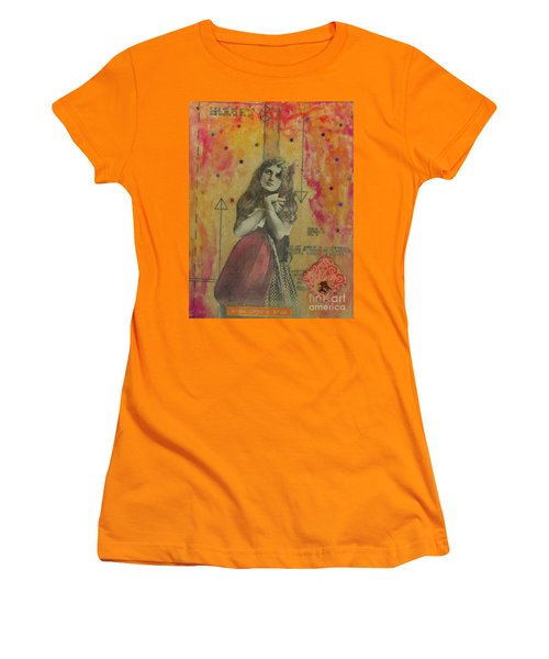 Women's T-Shirt (Junior Cut) featuring the mixed media Wish Upon A Star by Desiree Paquette