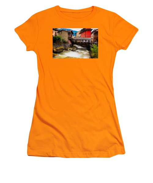 Wood Bridge On The River Women's T-Shirt (Junior Cut) by Cesare Bargiggia