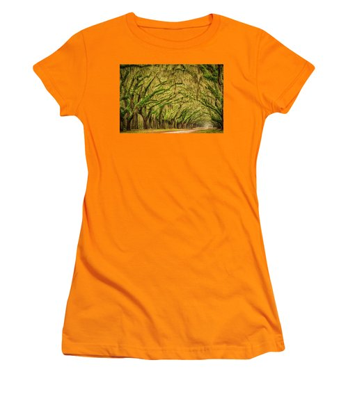 Women's T-Shirt (Junior Cut) featuring the photograph Wormsloe Drive by Phyllis Peterson