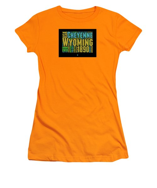 Wyoming Word Cloud Map 1 Women's T-Shirt (Junior Cut) by Naxart Studio