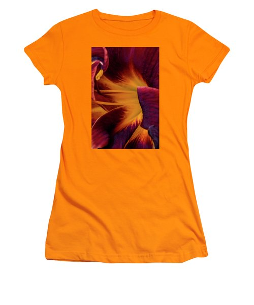 Yellow And Purple Women's T-Shirt (Athletic Fit)