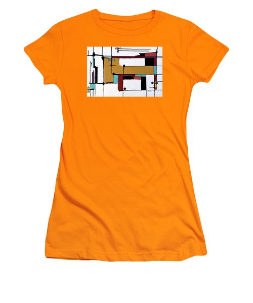 Yellow Cat And Four Kittens Women's T-Shirt (Athletic Fit)