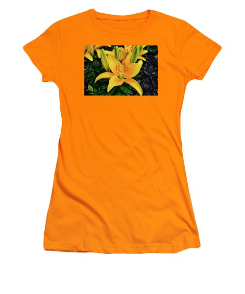 Women's T-Shirt (Junior Cut) featuring the photograph Yellow Lily 008 by George Bostian