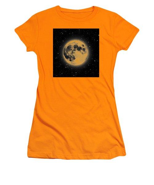 Yellow Moon Women's T-Shirt (Junior Cut) by Thomas M Pikolin