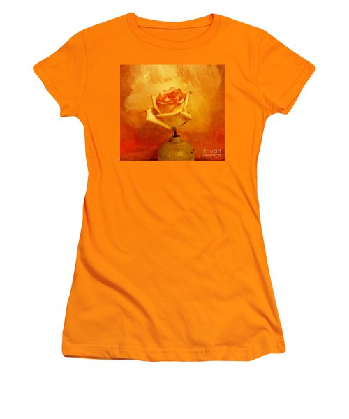 Women's T-Shirt (Junior Cut) featuring the photograph Yellow Red Orange Tipped Rose by Marsha Heiken